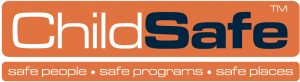 Child Safe logo. There are two long organge rectangles. The first one is the biggest and reads Child Safe as one word. Child is written in white, safe is written in blue. In the smaller rectangle underneath in a smaller white font the text reads safe people, safe programs, safe places