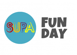 The word SUPA is written inside a blue circle. The S is read, the U is orange, the P is purple and the A is yellow. To the right of the SUPA circle are the words Fun Day written in grey. Overall the image read SUPA Fun Day